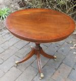 SOLD - Round Mahogany Pedestal Coffee Table by Reprodux